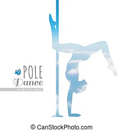 pole dance illustration - vector silhouette of girl and...