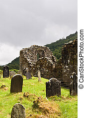 Cathedral ruins at Glendalough (Gleann Da Loch) National...