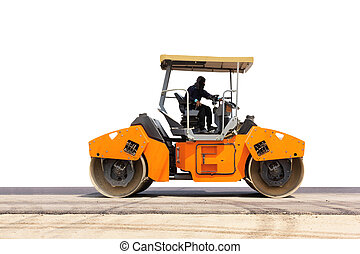 road roller; steamroller on under construction asphalt road