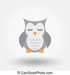 Sleeping owl. Stuffed toy. Icon for web and mobile...