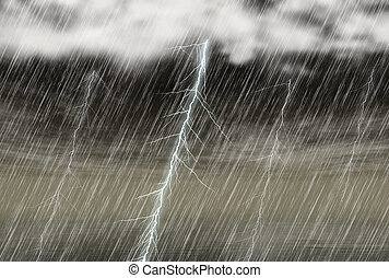 rain storm backgrounds with lightning in cloudy weather -...