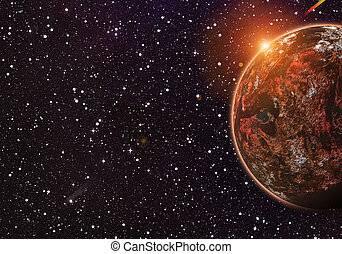 red planet on cosmos stars backgrounds with flash and flare...