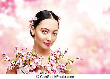 mulher, beleza, com, Cor-de-rosa, flores, Asiático,...