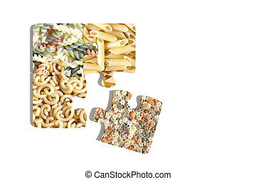 Four puzzle pieces on white background