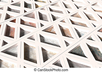 Surface made of triangles splitted with white lines - 3d...