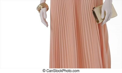 Peach dress in the wind. Peach dress on white background....