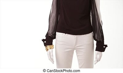 Wind blowing on transparent blouse. Black blouse with long...