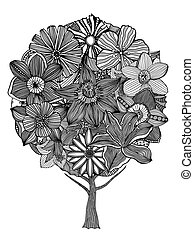 Tree with leaves and flowers Coloring book page for adults...