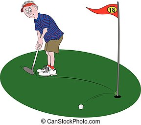 Golfer Putting - Vector cartoon illustration depicting a...