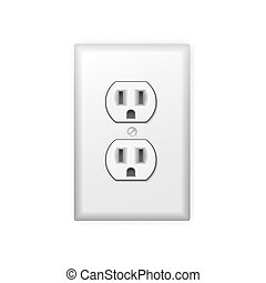 Power socket - Realistic plastic power socket isolated on...