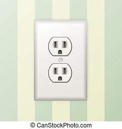 Power socket - Background with realistic plastic power...