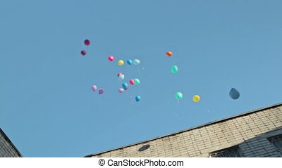 Colorful ballons in sky - Colorful ballons raising to the...