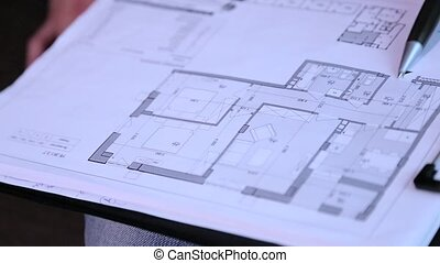Drawings and layout of the building closeup