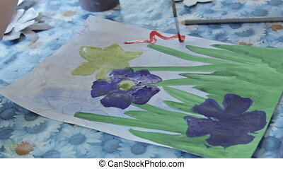 Children drawing in kindergarten - Children painting in...