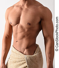Muscular man in a towel