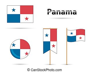 panama flags - Panama flags set