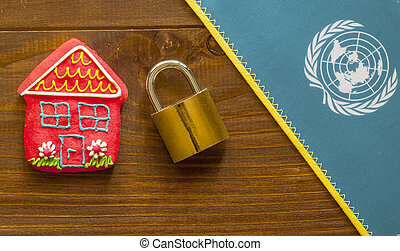 International Safe House - Red sweet house , padlock and...