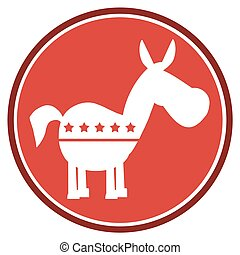Democrat Donkey Red Circle Label
