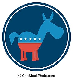 Democrat Donkey Blue Circle Label