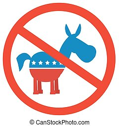 Stop Democrats Circle Label. Illustration Flat Design Style...