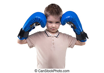 Cute blond little boy with boxing gloves