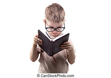 Little boy reading book on white background