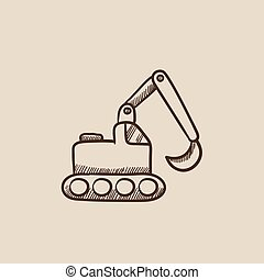 Excavator sketch icon - Excavator sketch icon for web,...