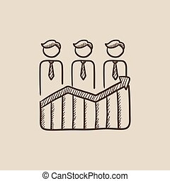Businessmen standing on profit graph sketch icon.
