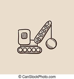 Demolition crane sketch icon - Demolition trailer sketch...