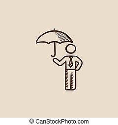 Businessman with umbrella sketch icon.