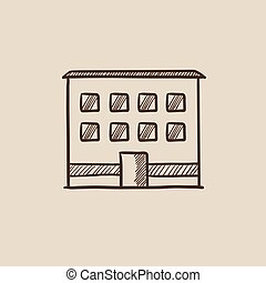 Office building sketch icon - Office building sketch icon...