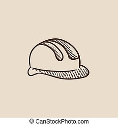 Hard hat sketch icon - Hard hat sketch icon for web, mobile...