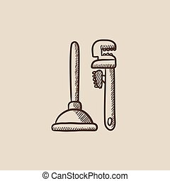 Pipe wrenches and plunger sketch icon. - Pipe wrenches and...
