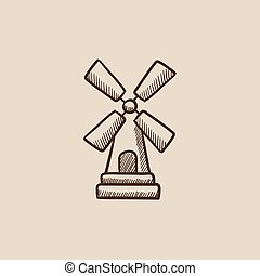 Windmill sketch icon - Windmill sketch icon for web, mobile...