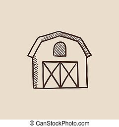 Farm building sketch icon - Farm building sketch icon for...