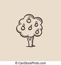 Fruit tree sketch icon - Fruit tree sketch icon for web,...