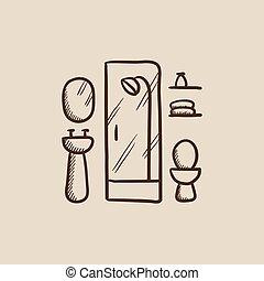 salle bains, croquis, icône