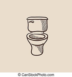 Lavatory bowl sketch icon. - Lavatory bowl sketch icon for...