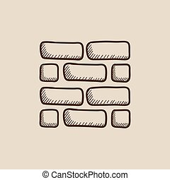 Brickwall sketch icon - Brickwall sketch icon for web,...