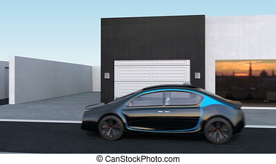EV self-driving to garage - Autonomous car park to garage by...