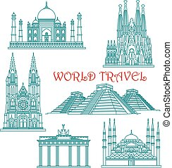 World travel landmarks thin line icons - World travel and...