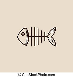 Fish skeleton sketch icon - Fish skeleton sketch icon for...