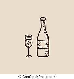 Bottle of champaign and glass sketch icon - Bottle of...