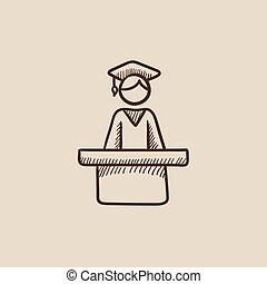 Graduate standing near tribune sketch icon - Graduate...
