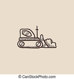Bulldozer sketch icon - Bulldozer sketch icon for web,...