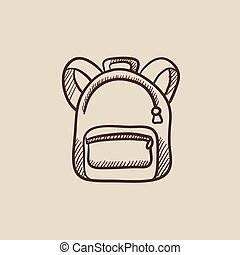 Backpack sketch icon - Backpack sketch icon for web, mobile...