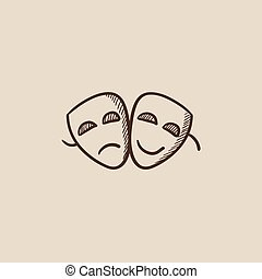 Two theatrical masks sketch icon. - Two theatrical masks...