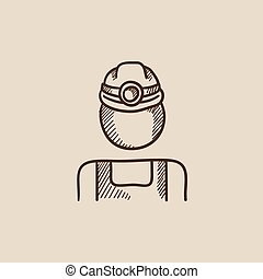 Coal miner sketch icon. - Coal miner sketch icon for web,...