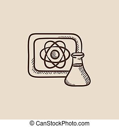 Atom sign drawn on board and flask sketch icon.