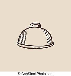 Restaurant cloche sketch icon - Restaurant cloche sketch...